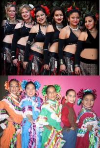 Belly dancers (top) and Folklorico dancers (bottom) will entertain the crowd Saturday.
