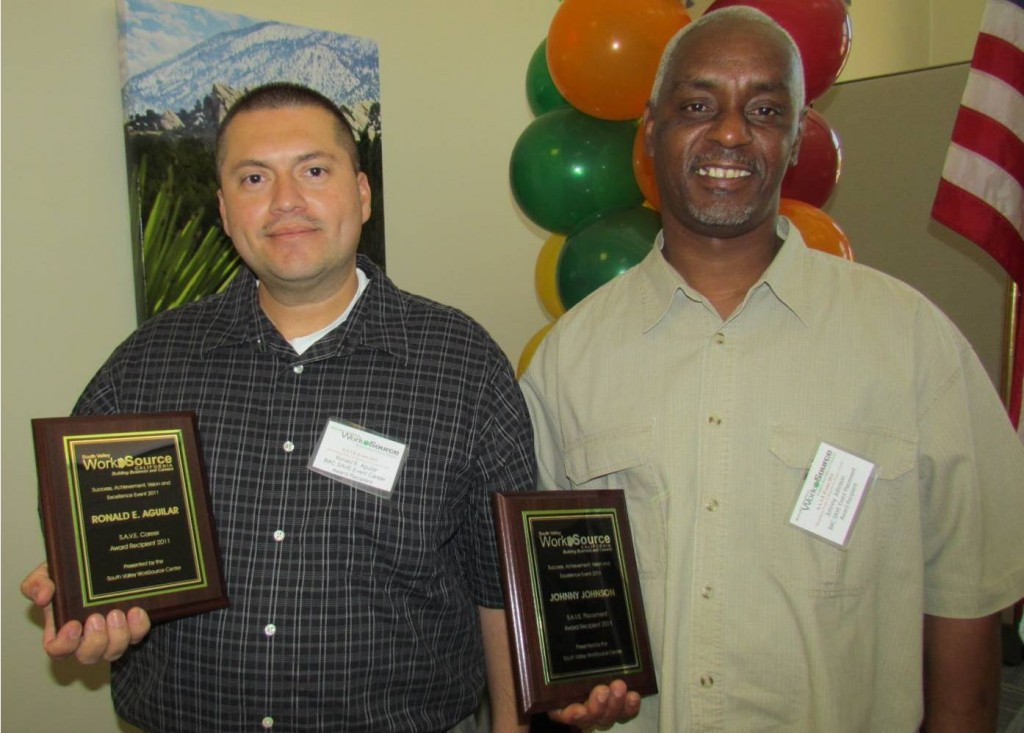 Ronnie Aguilar (L) and Johnny Johnson (R) were honored Wednesday by the South Valley Work Source Center's Business Advisory Council.