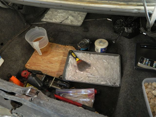 Deputies recovered five pounds of methamphetamine in the trunks of two separate vehicles that were stored on the property.