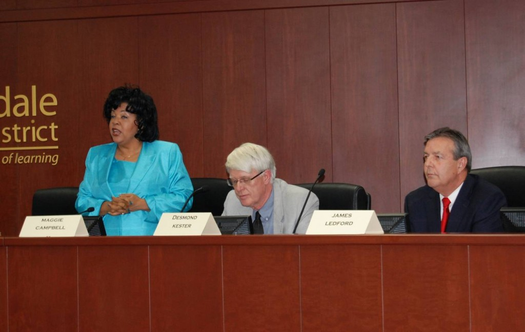 Maggie Campbell, Desmond Kester, and Jim Ledford at the Palmdale Mayoral Debate Thursday.