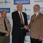 (Left to right) LASD Lancaster Captain Bob Jonsen, Aero View President Steve McCarter, and Lancaster Mayor R. Rex Parris