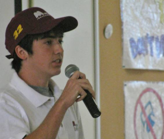 Andrew Murray, the youngest NASCAR-sanctioned driver ever, talks to Palmdale High School students about the dangers of texting while driving.