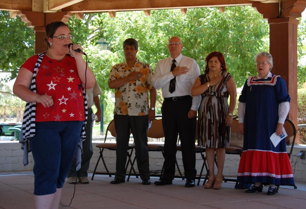 AV Teen Idol Winner, Miranda Hickman, sang the National Anthem at the Flag Day ceremony Thursday at Poncitlán Square.