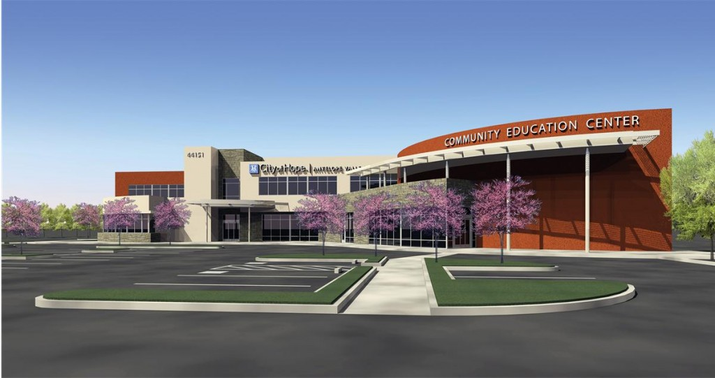 An exterior rendering of the future City of Hope | Antelope Valley Cancer and Community Education Center.