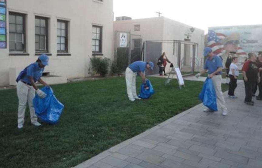 Guys in Blue pick up litter around Lancaster.