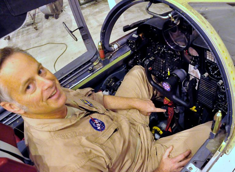 Broce said there are many technical aspects to his job, but most people just want to know how he relieves himself during a long flight. He pointed to the drain valve that connects to his space suit, which is routed to a bucket under the seat.