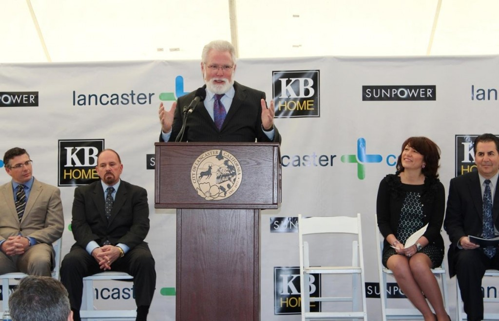 Lancaster Mayor R. Rex Parris speaks at an event Thursday morning to celebrate the 1,000th solar powered home built by KB Home and powered by SunPower.