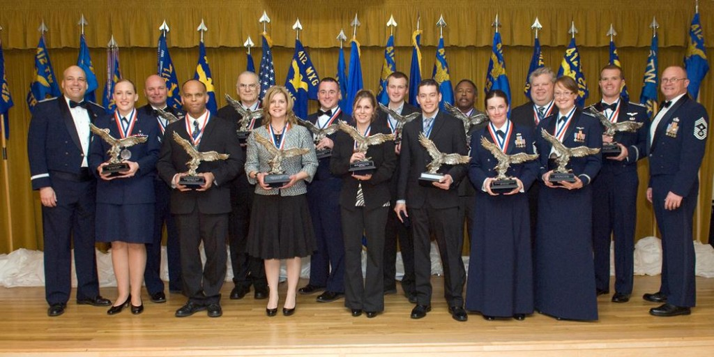 The 412th Test Wing 2012 annual award winners at Club Muroc Feb. 8. (U.S. Air Force photo by Edward Cannon)