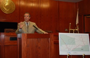 Ledford details the route at a press conference Tuesday.