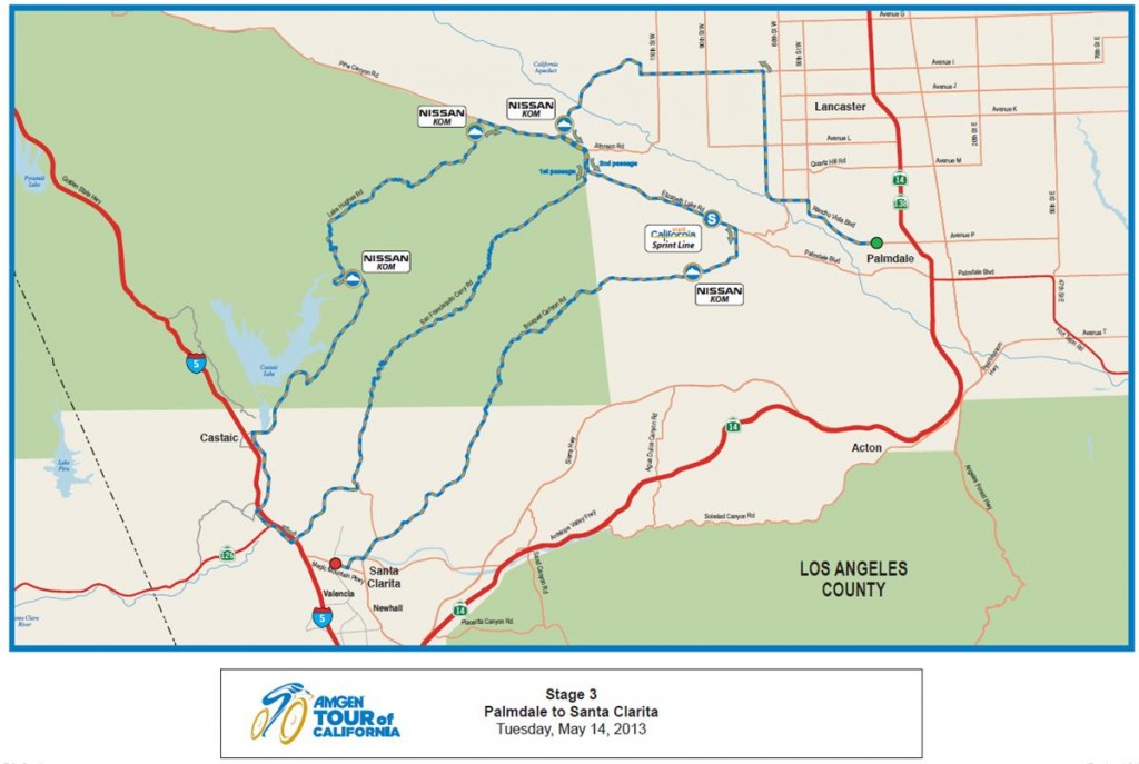 AMGEN Tour Palmdale route 2013 map