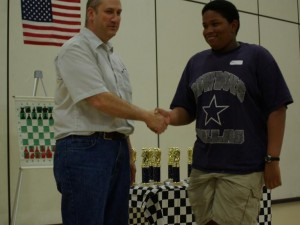 Eighth grader Tivon Newman is recognized