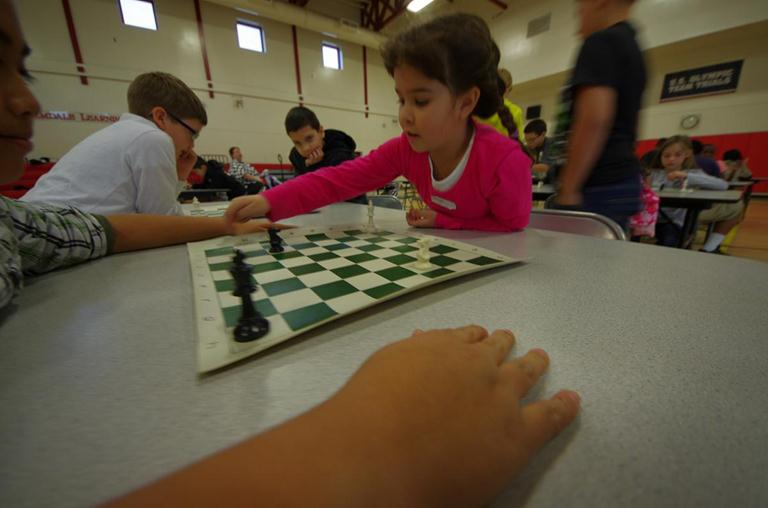 Second grader Hannah Purnel focuses on her move in the Kings Cross Mini Game.