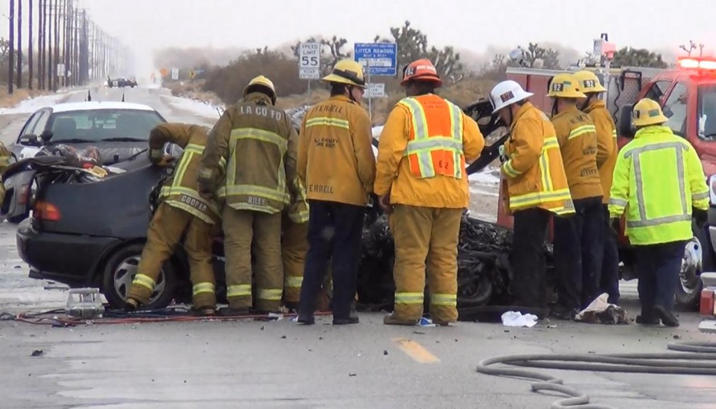 There was a slight snow storm at the time of the double fatal collision, officials said. (Photo by LUIS MEZA)