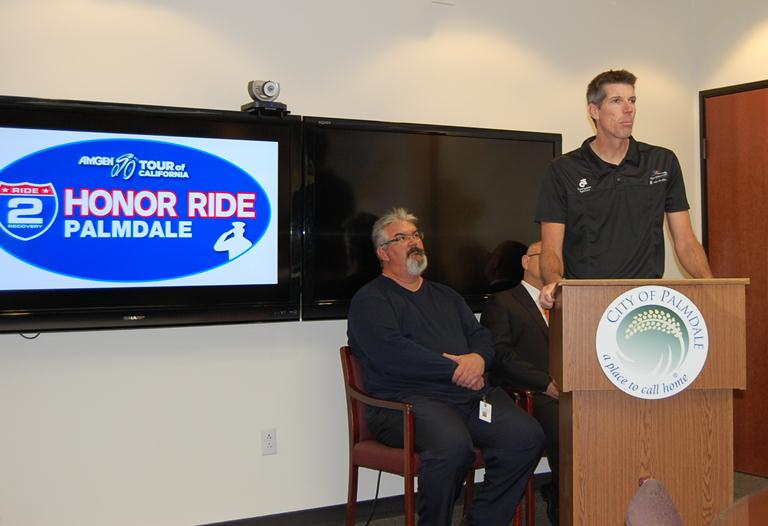 Ride2Recovery President and Founder John Wordin speaks at a press conference Wednesday to announce the Amgen Tour of California Honor Ride Palmdale.