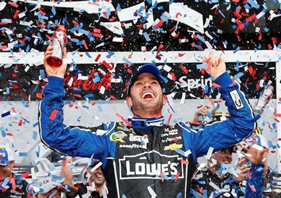 Jimmie Johnson celebrates his 2013 Daytona 500 win.
