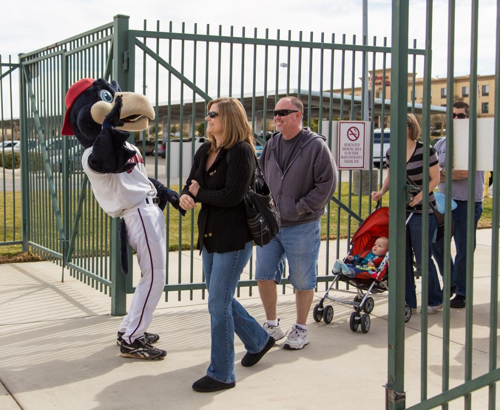 Fans are greeted by KaBoom at the JetHawks Open House (Photo by JAMES STAMSEK)
