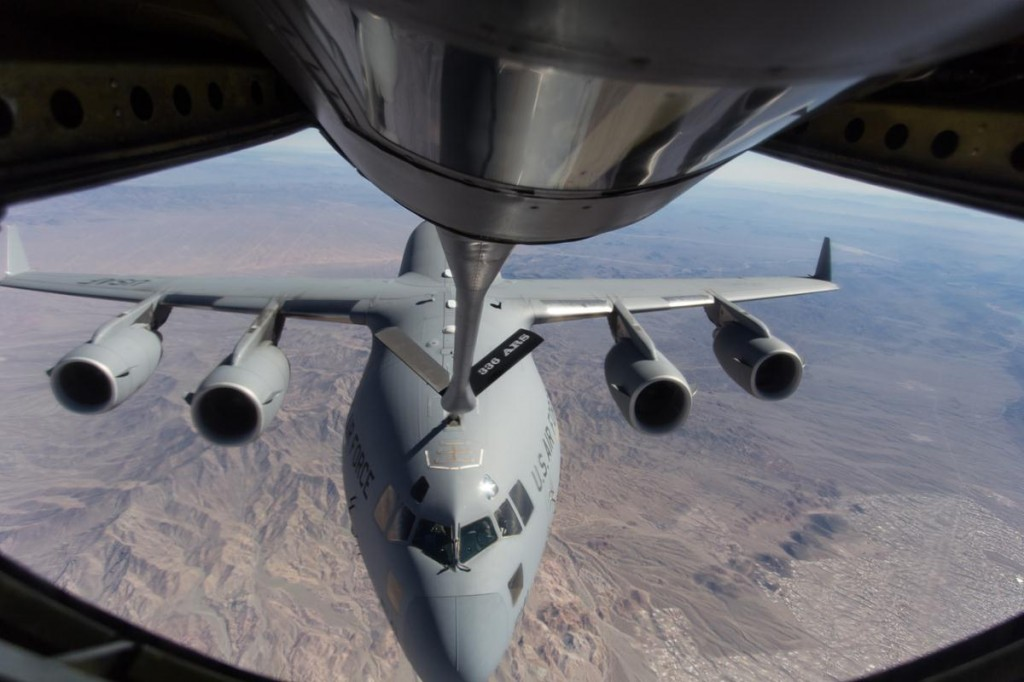 News crews were invited on a refueling training mission with Nicole Canada recently. Our cameras captured this view of the C-17 from inside a KC-135 Stratotanker. (Photos by JAMES STAMSEK)