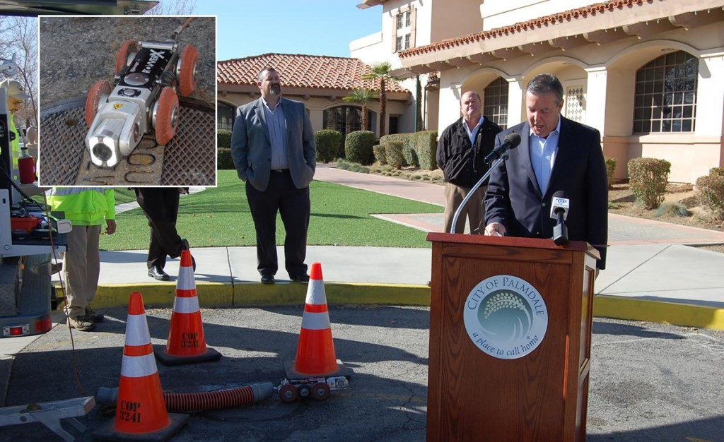 City officials held a press conference at Palmdale City Hall Wednesday morning to demonstrate the city's new ROVVER X 130, which will help inspect sewer pipelines.