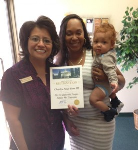 Baby on the move: Charles recently received a certificate of recognition from Assemblyman Steve Fox.
