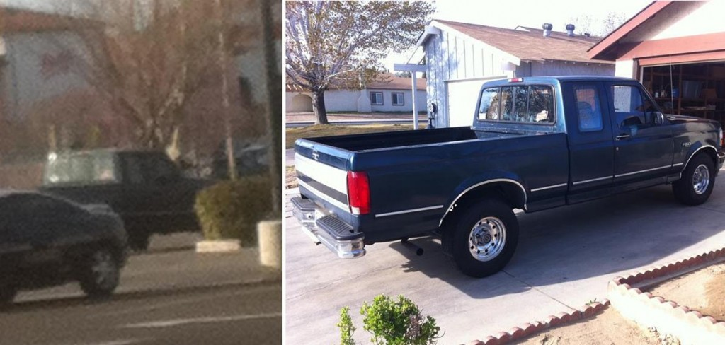 The image on the left shows a pick up truck leaving the robbery scene. Authorities were able to track the truck to Ronald Russell, whose vehicle is shown on the right.