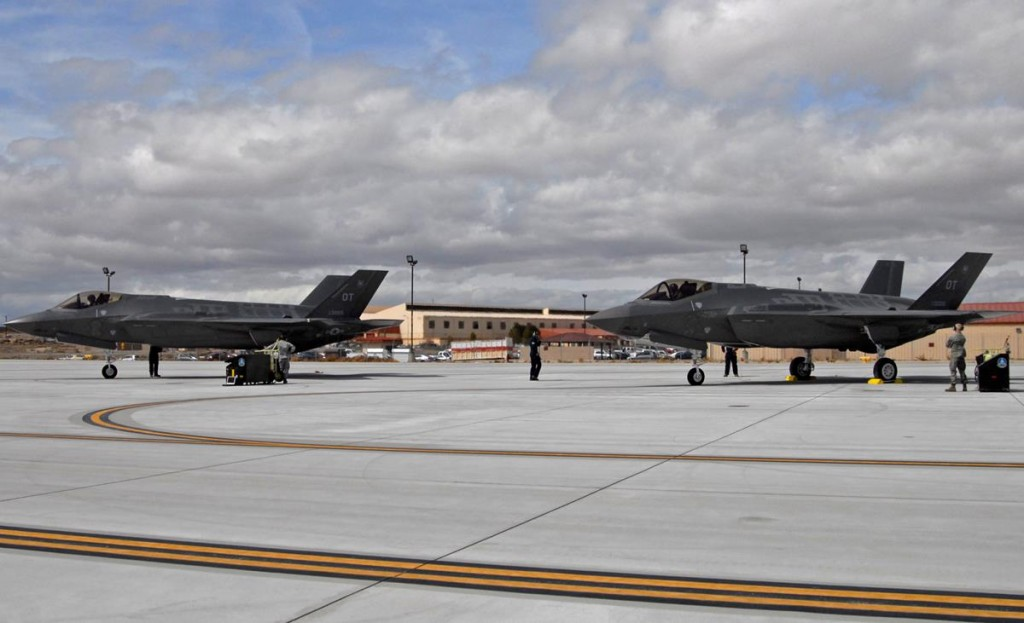 Edwards entered a new phase of testing on the F-35 Lightning II program March 6 with the arrival of the first two operational test aircraft. The aircraft were flown by Lt. Col. Steven J. Tittel, 31st Test and Evaluation Squadron commander and Maj. Matthew L. Bell, 31st TES Operations Flight commander. (U.S. Air Force photo by Laura Mowry)