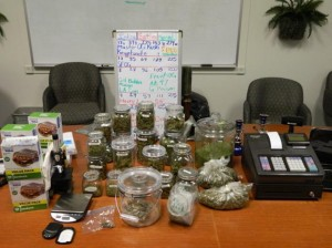 Deputies discovered several pounds of marijuana and evidence that the marijuana was being sold illegally.