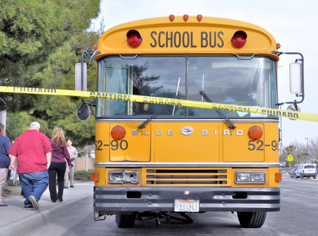 A teen was thrown from his bicycle after being struck by a bus Monday afternoon. The bike itself was pinned under the school bus and dragged for several yards.
