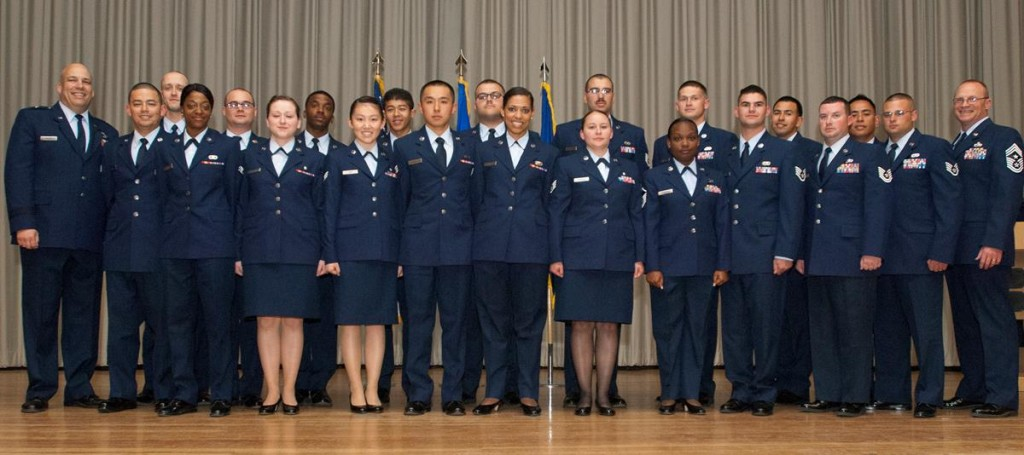 Team Edwards saw 28 of its enlisted Airmen promoted to the next rank during the monthly promotion ceremony last week. (U.S. Air Force photo by Ethan Wagner)