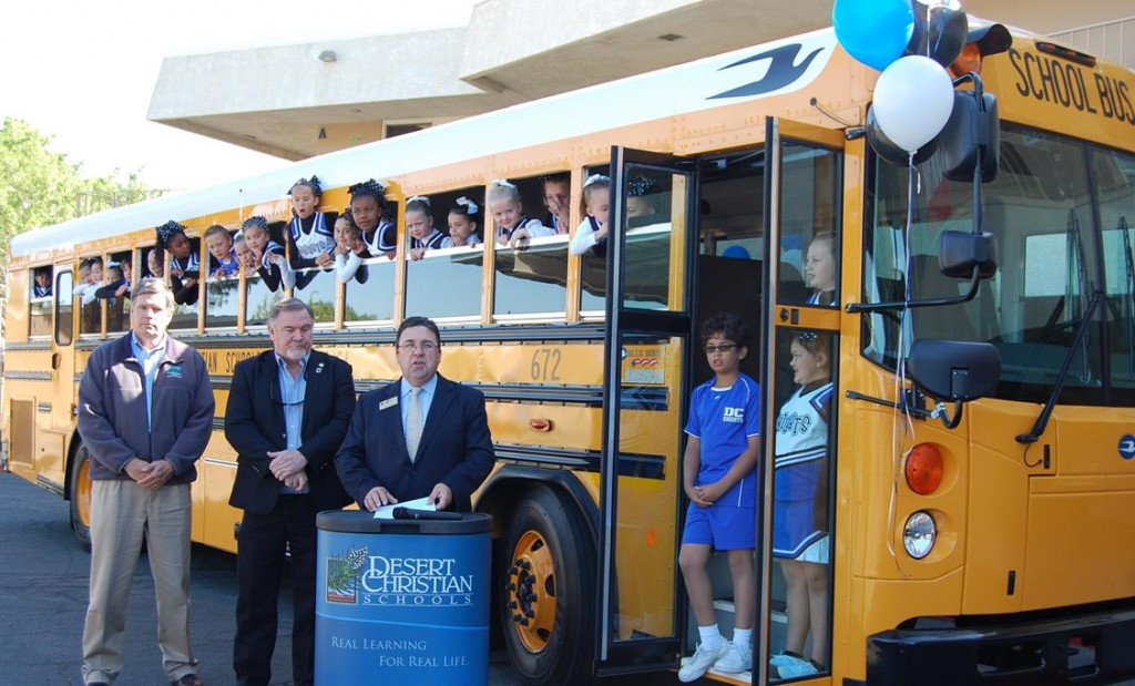 During a press conference Friday, the clean air bus was official put into service, as DCS students joined AVAQMD Governing Board Chairman Marvin Crist and Operations Manager Bret Banks on the vehicle's inaugural ride.