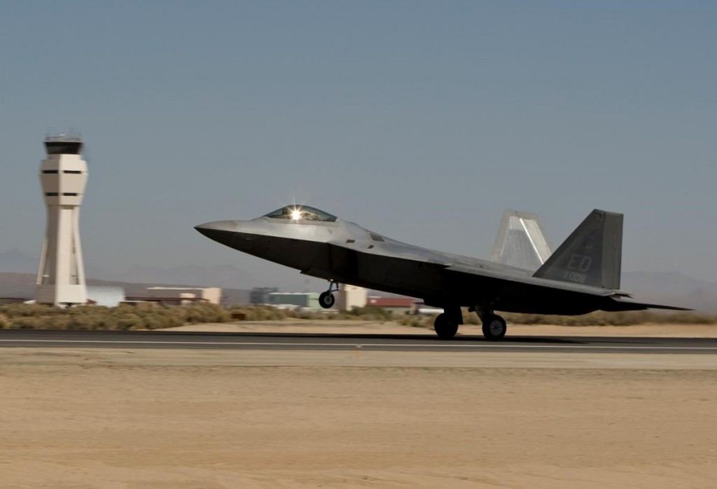 An F-22 Raptor assigned to the 411th Flight Test Squadron takes off at Edwards Air Force Base. (Courtesy photo by Lockheed Martin)
