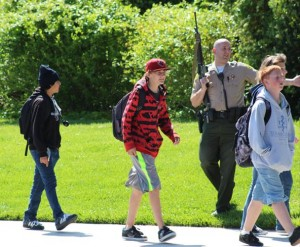Students were escorted from the school by deputies.