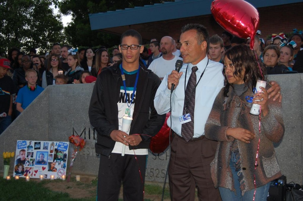 Hillview Principal Robert Garza, flanked by Nigel's mother, Lisa Hardy, and brother, Rosario, said the Hardy family wanted to thank the community for showing love and support.