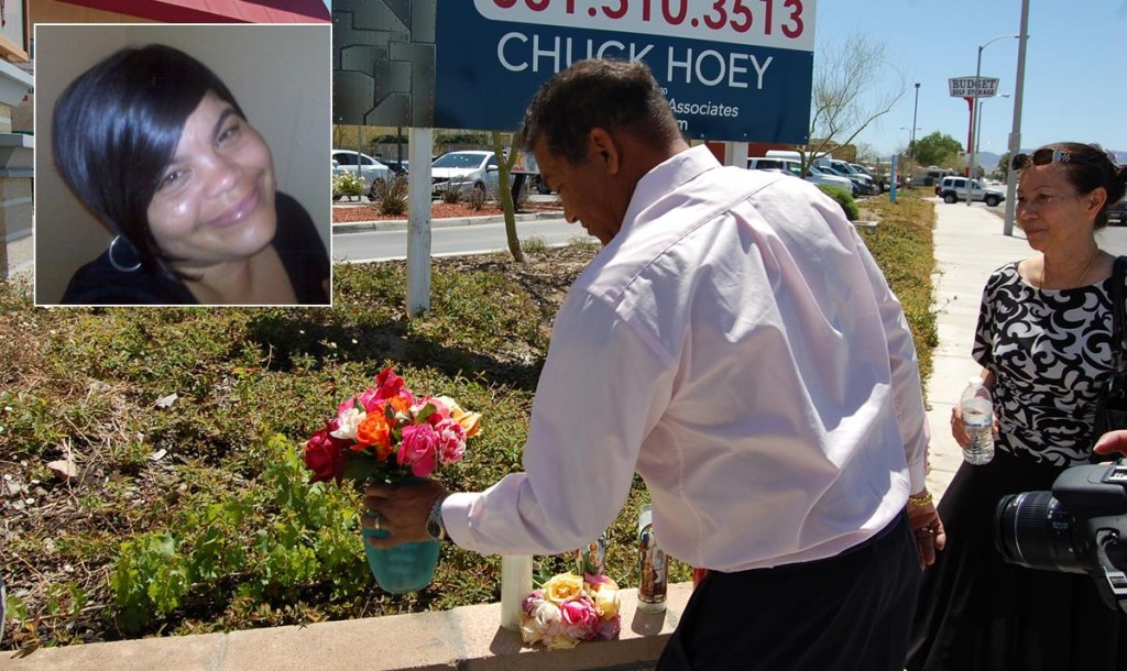 Paul Goins places flowers at the site of the collision that killed his daughter on March 13, 2012. Several family members gathered at the site following the sentencing hearing.