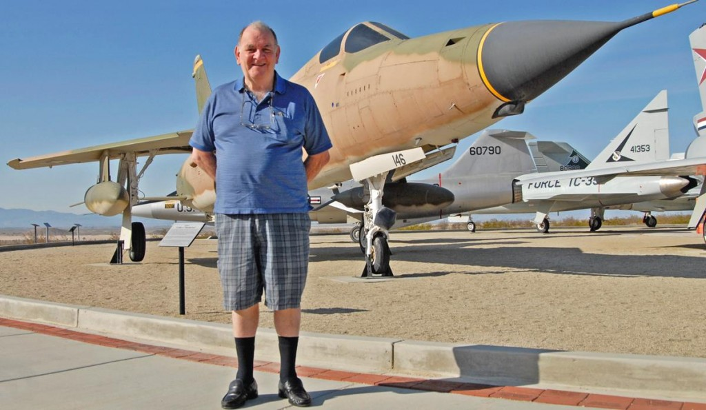Retired Col. Robert L. Stirm stands in front of the F-105 Thunderchief at Edwards AFB's Century Circle Apr. 5. (U.S. Air Force photo by Laura Mowry)