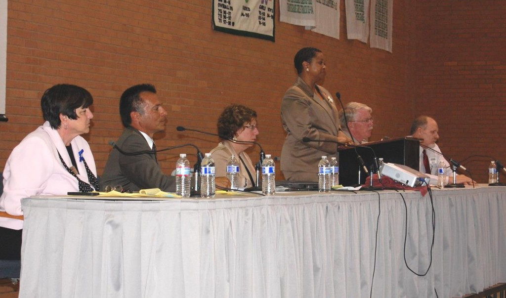 Attendees heard from a panel of speakers, including (L to R) Westside Union Superintendent Regina Rossall, Hoffman Hospice Branch Director Roger Doyle, Palmdale Sheriff's Station Captain Don Ford, Not in Our School Director Becki Cohn-Vargas, Hillview Middle School Principal Robert Garza, and .