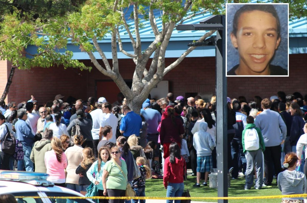 Parents rushed to Hillview Middle School Monday, after officials placed the school on lockdown while deputies searched for an armed student. Nigel Hardy (top right) ultimately committed suicide Monday night, authorities said. Grief counselors were available on site at Hillview Middle School Tuesday, according to Superintendent Regina Rossall. (Photo by TONY CHEVAL)